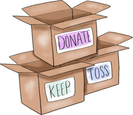 Donate, keep, toss stickers