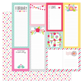 Doodlebug Love Notes Conversation Hearts Double Sided 12x12