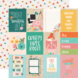 Simple Stories - Hey Crafty Girl 3x4 Elements Double Sided 12x12""