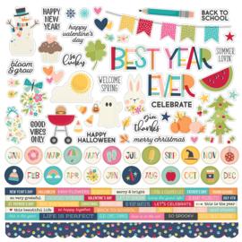 Simple Stories - Best Year Ever stickervel 12x12