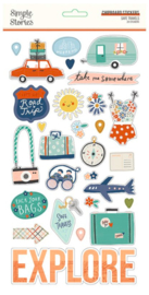 Simple Stories - Save Travels chipboard stickers