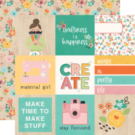 Simple Stories - Hey Crafty Girl 4x4 Elements Double Sided 12x12""