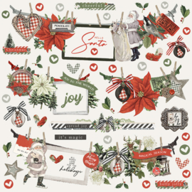Simple Stories - Rustic Christmas banner stickervel 12x12