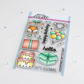 Heffy Doodle - Popping By clear stamps
