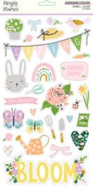 Simple Stories - Bunnies & Blooms chipboard stickers