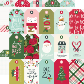 """Simple Stories - Holly Days Tags Double Sided 12x12"""""""