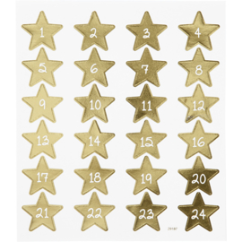 Kerst advent stickers goud