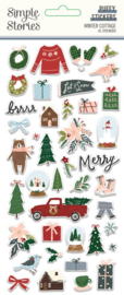 Simple Stories - Winter Cottage puffy stickers