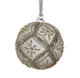 Glazen kerstbal groen/grijs met zilver 8cm