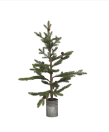 Kerstboompje in zinken pot 80 cm