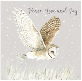 Luxe doos kerstkaarten  Peace, Love and Joy..