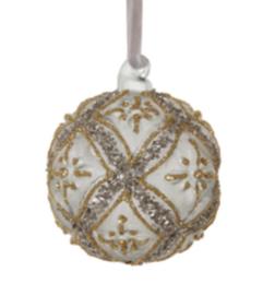 Glazen kerstbal groen/grijs met zilver 6cm