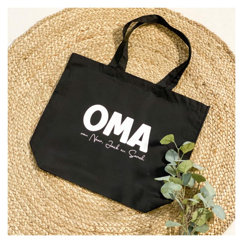 Katoenen tas premium | Oma (naam kleinkinderen)