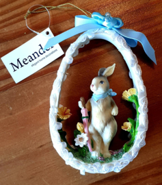 Ornament Bunny in Egg (Blue or Pink)