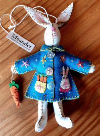 Bunny with coat and carrot (Blue, Yellow or White)