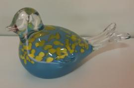Glasvogel blauw geel 17 x 8 x 9 cm