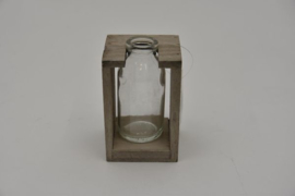 Houten rekje grijs met 1 flesje 7,5x7,5x11,5cm