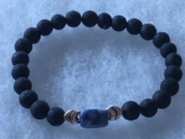 Lava armband met Sodaliet 01