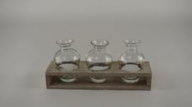 Houten tray grijs met 3 flesjes