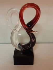 glas sculptuur dubbele krul rood 03