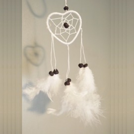 Dream Catcher hart wit Ø 6cm