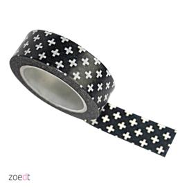 Masking tape Zwart met witte plusjes