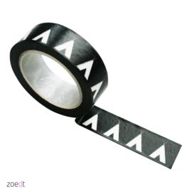 Masking tape Zwart met witte tipi