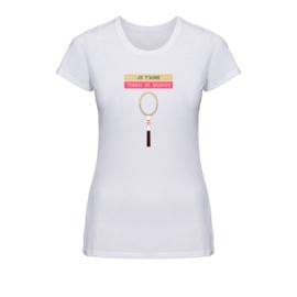 Dames tennis t-shirt - Je t'aime tennis de gravier