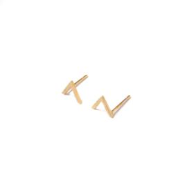 V shape oorstuds - goud