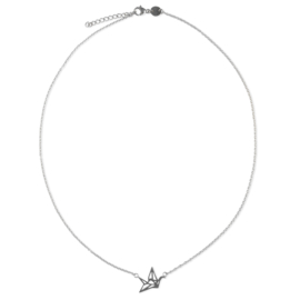 Origami bird necklace - zilver