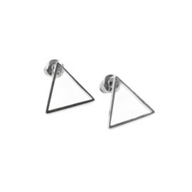 Triangel oorstekers - zilver
