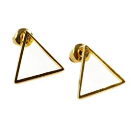 Open triangel oorstekers - goud