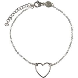 Handmade heart armbandje - zilver