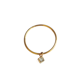 Ringetje met zirkonia steen - goud
