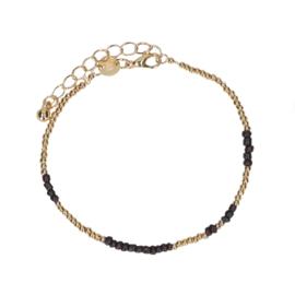 Bead armband zwart/goud
