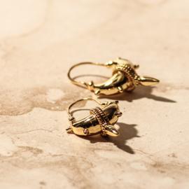 Tibetaanse oorbellen met spikes goud