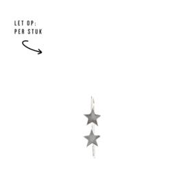 Double stars oorbel - zilver