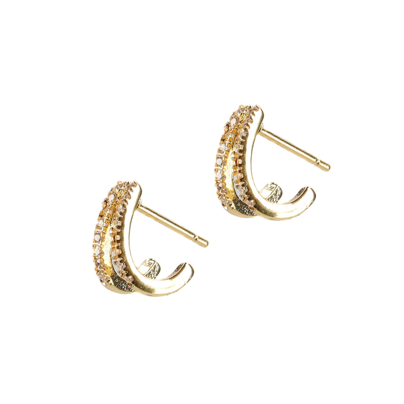 Double rings met steentjes goud