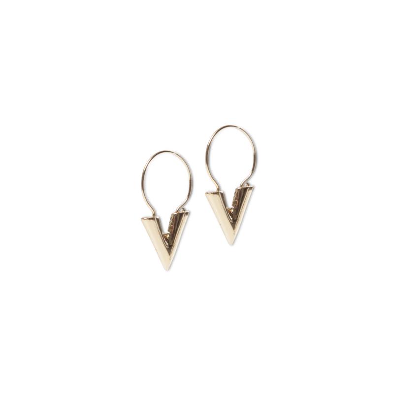 V shape oorbellen goud