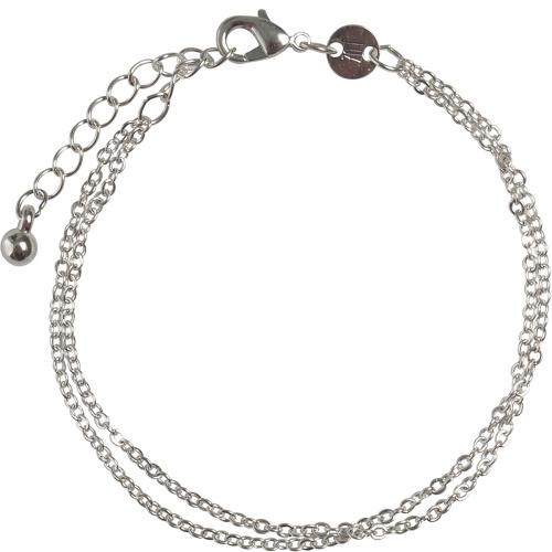 Double chain armbandje - zilver
