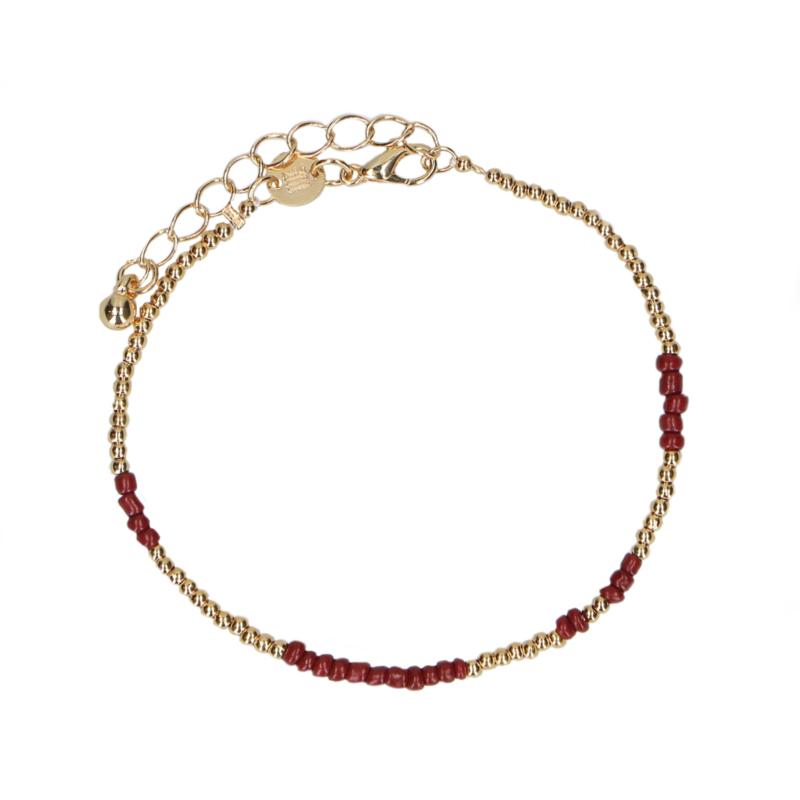 Bead armband goud/bordeaux