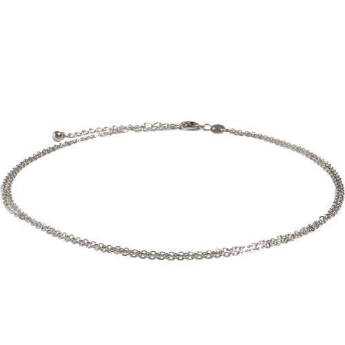 Double chain choker - zilver