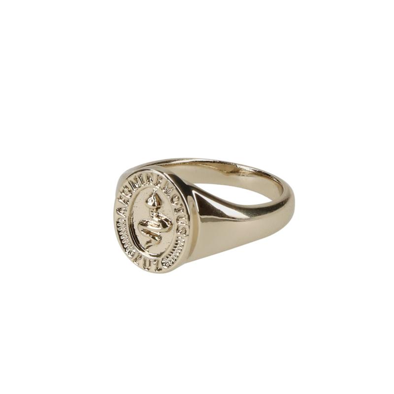 Snake signet ring goud
