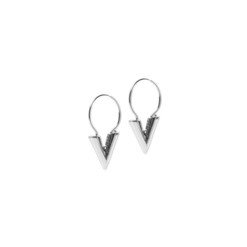 V shape oorbellen zilver