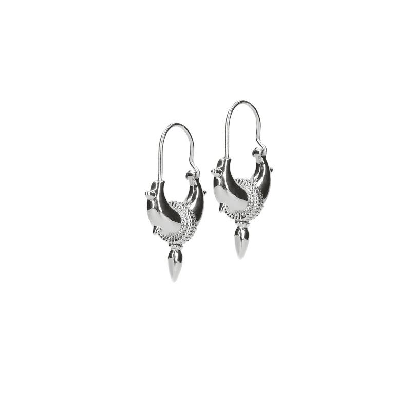 Tibetaanse oorbellen met spikes zilver