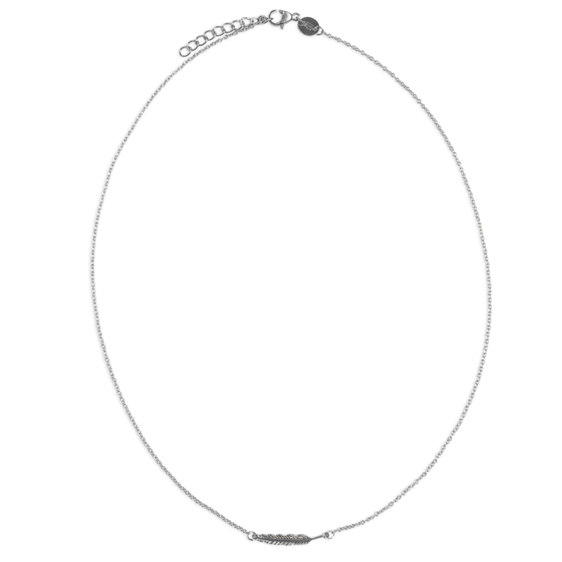 Feather necklace - zilver