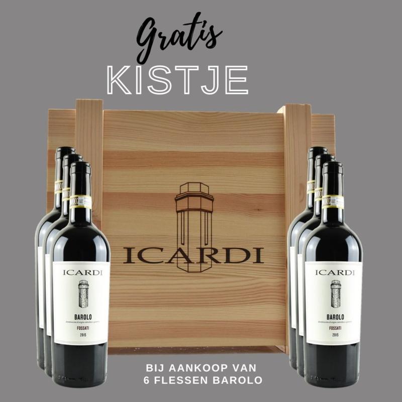 6 flessen Barolo Fossati  in originele houten kist - Icardi