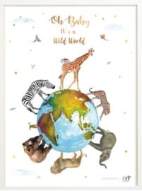 Kinderkamer poster   Wild World   30 x 40 cm