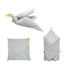 Babydeken origami vogel | foggy blue