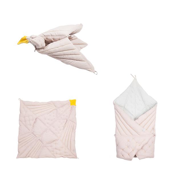 Babydeken origami vogel | soft pink